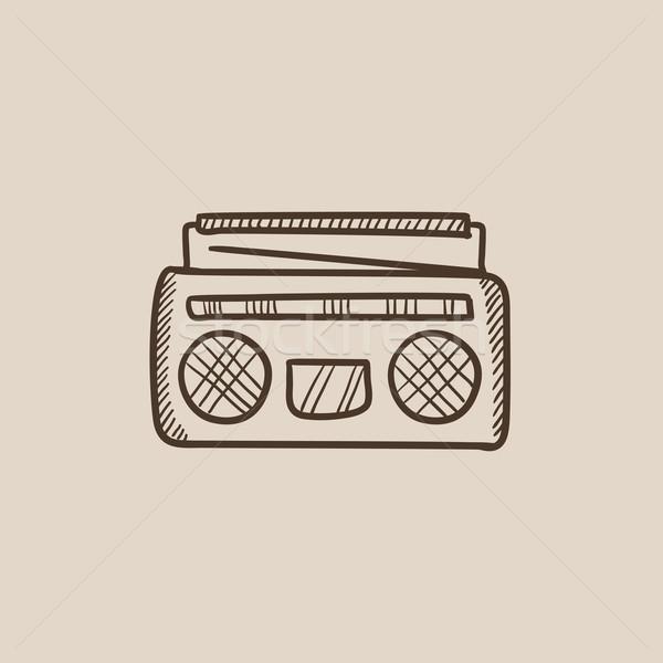 Stok fotoğraf: Radyo · kaset · oyuncu · kroki · ikon · web