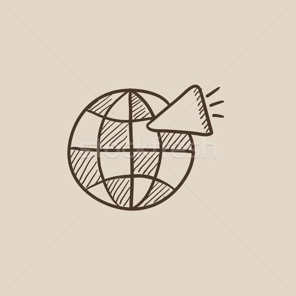 Mundo altavoz boceto icono web móviles Foto stock © RAStudio