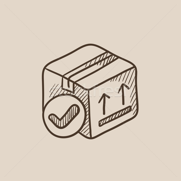 Stock photo: Carton package box sketch icon.