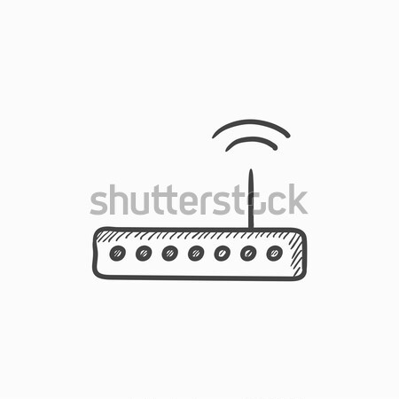 Wireless Router Skizze Symbol Web mobile Stock foto © RAStudio