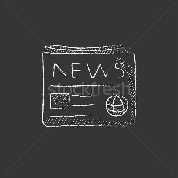 Journal craie icône dessinés à la main vecteur Photo stock © RAStudio