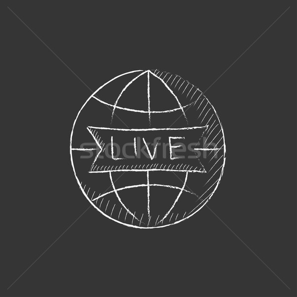 Globe with live sign. Drawn in chalk icon. Stock photo © RAStudio