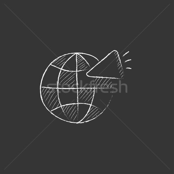 Mundo altavoz tiza icono dibujado a mano Foto stock © RAStudio