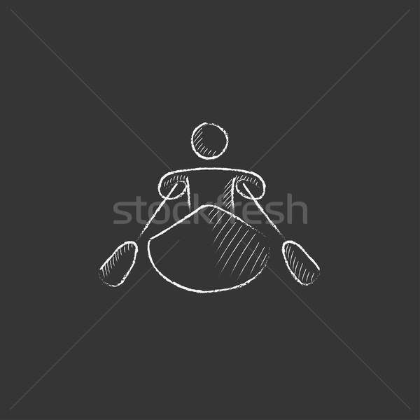 Man kajakken krijt icon Stockfoto © RAStudio