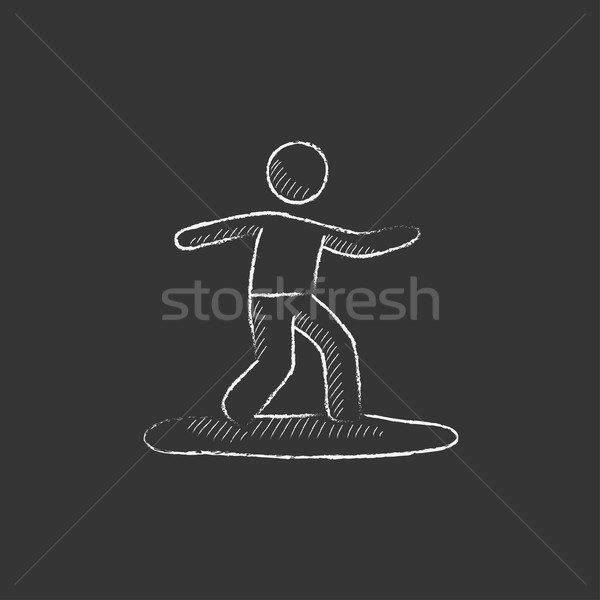 Male surfer riding on surfboard. Drawn in chalk icon. Stock photo © RAStudio