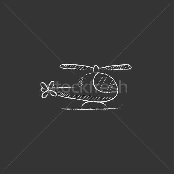 Helikopter krijt icon vector Stockfoto © RAStudio