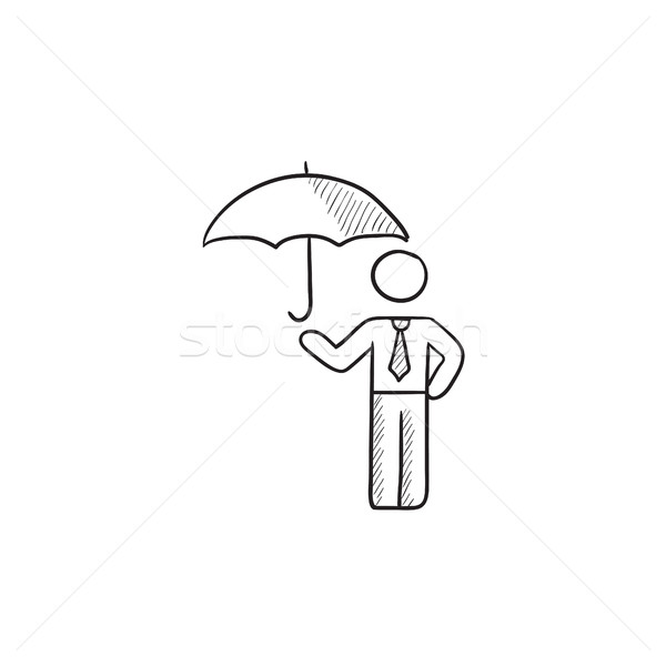 Businessman with umbrella sketch icon. Stock photo © RAStudio