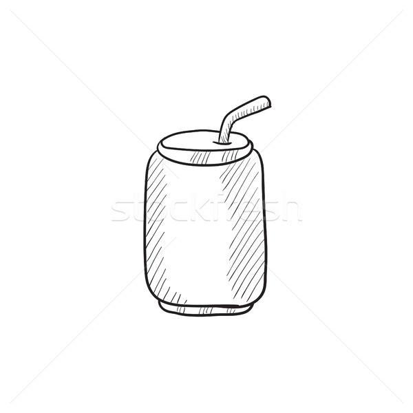 Pitnej słomy szkic ikona wektora Zdjęcia stock © RAStudio