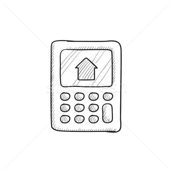 Calculator with house on display sketch icon. Stock photo © RAStudio