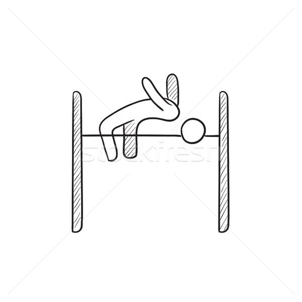 Hoogspringen schets icon vector geïsoleerd Stockfoto © RAStudio