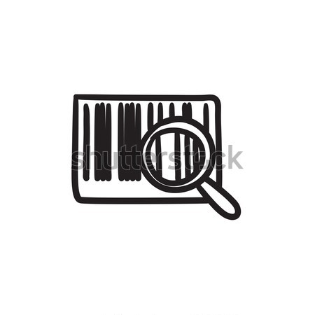Magnifying glass and barcode sketch icon. Stock photo © RAStudio