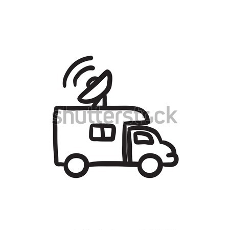 Broadcasting van sketch icon. Stock photo © RAStudio