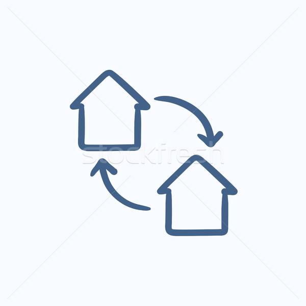 Ev değiştirme kroki ikon vektör yalıtılmış Stok fotoğraf © RAStudio