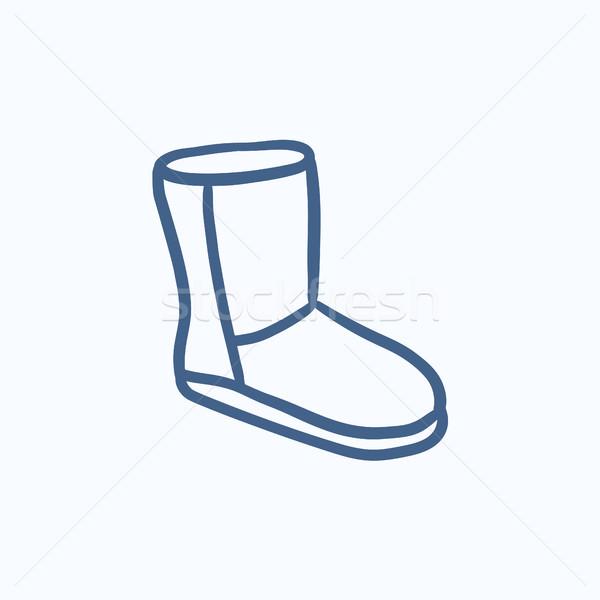 Belirsiz kış çizme kroki ikon vektör Stok fotoğraf © RAStudio