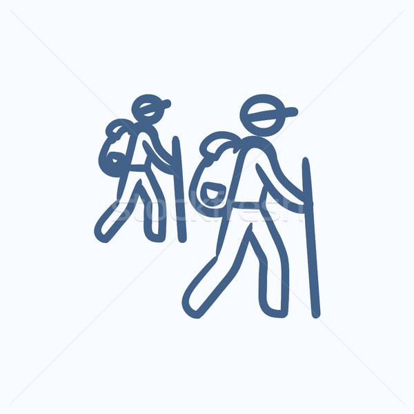Tourist backpackers sketch icon. Stock photo © RAStudio