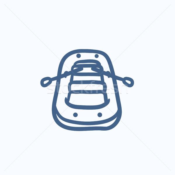 Inflatable boat sketch icon. Stock photo © RAStudio