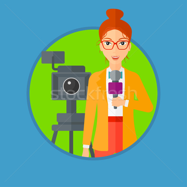 Tv verslaggever microfoon camera permanente presenteren Stockfoto © RAStudio