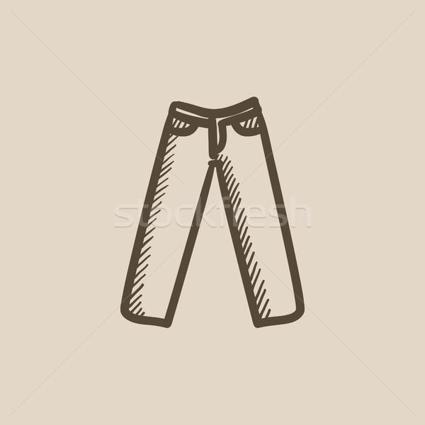 Nadrág rajz ikon vektor izolált kézzel rajzolt Stock fotó © RAStudio