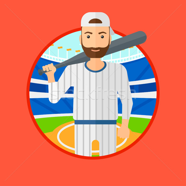 Jogador de beisebol bat barba em pé beisebol Foto stock © RAStudio