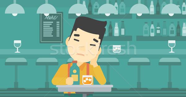 человека питьевой Бар азиатских печально сидят Сток-фото © RAStudio