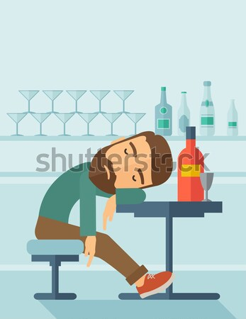 Sportive man drinking water vector illustration. Stock photo © RAStudio
