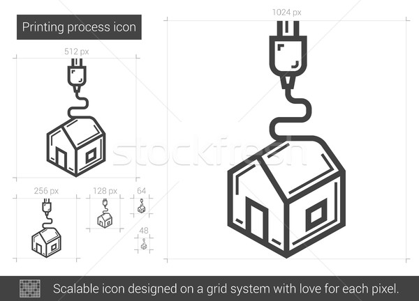 печати процесс линия икона вектора изолированный Сток-фото © RAStudio