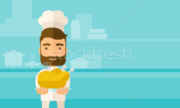 Chef sabroso cocido Turquía jóvenes Foto stock © RAStudio