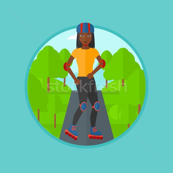 Sporty woman on roller-skates vector illustration. Stock photo © RAStudio