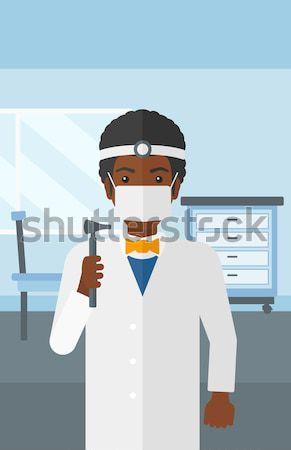 Ouvido nariz garganta médico africano em pé Foto stock © RAStudio