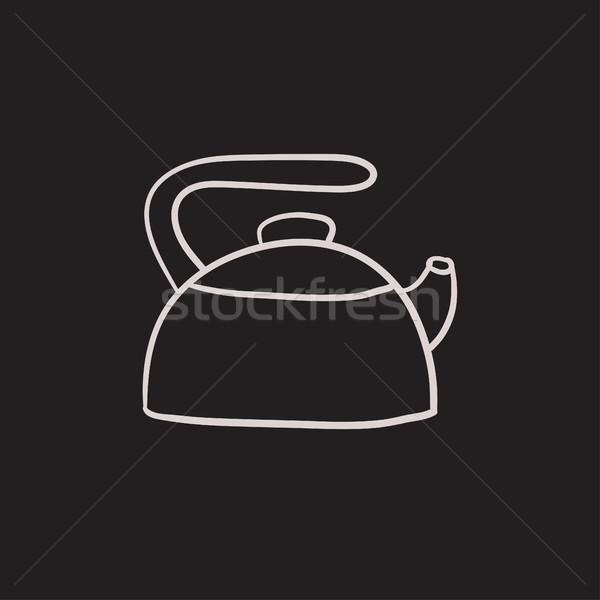 Ketel schets icon vector geïsoleerd Stockfoto © RAStudio