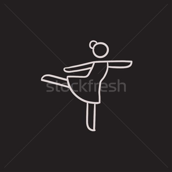Női alkat görkorcsolyázó rajz ikon vektor Stock fotó © RAStudio
