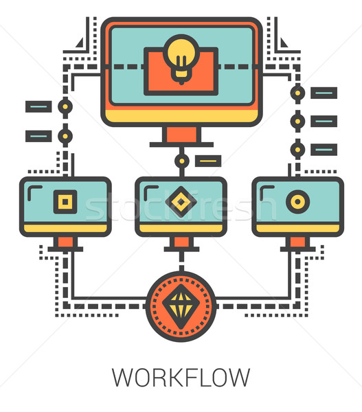 Workflow lijn metafoor iconen project Stockfoto © RAStudio