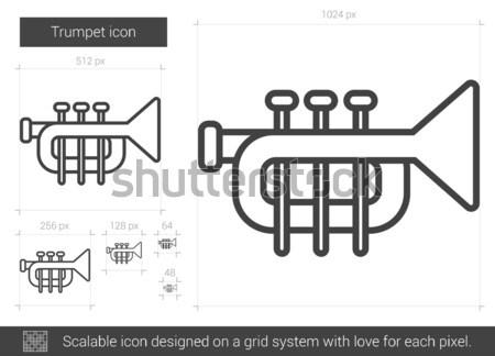 Trompet lijn icon vector geïsoleerd witte Stockfoto © RAStudio