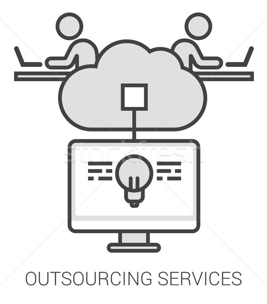 Outsourcing services line infographic. Stock photo © RAStudio