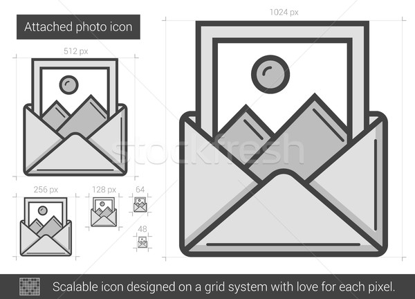 Attached photo line icon. Stock photo © RAStudio