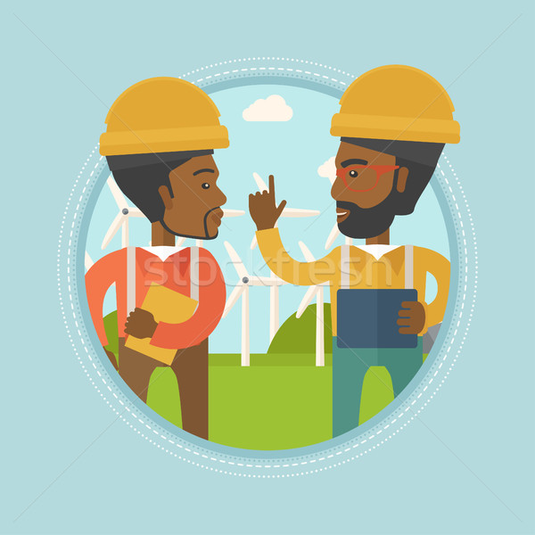 Workers of wind farm talking vector illustration. Stock photo © RAStudio
