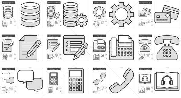 Technology line icon set. Stock photo © RAStudio