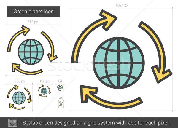 Green planet line icon. Stock photo © RAStudio