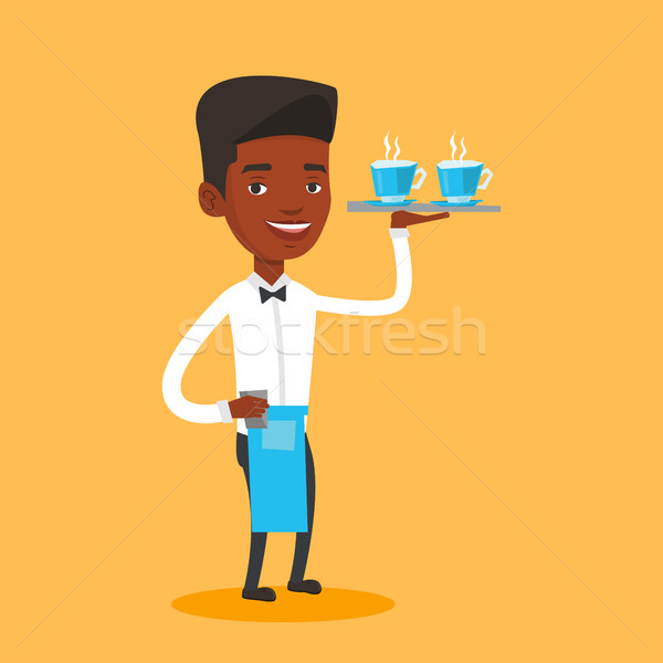 Waiter holding tray with cups of coffeee or tea. Stock photo © RAStudio