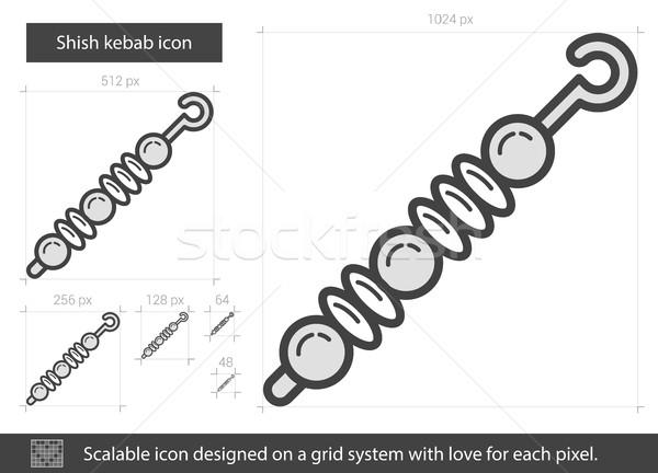 кебаб линия икона вектора изолированный белый Сток-фото © RAStudio