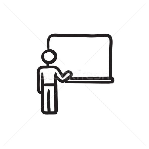 Profesör işaret tahta kroki ikon vektör Stok fotoğraf © RAStudio