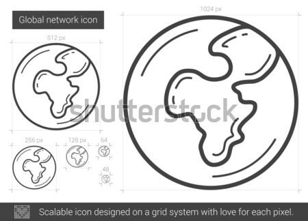 Globalização linha ícone vetor isolado branco Foto stock © RAStudio