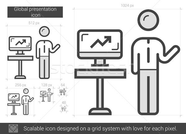 Stock photo: Global presentation line icon.