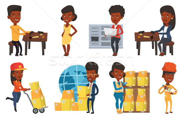 Vector set of industrial workers. Stock photo © RAStudio