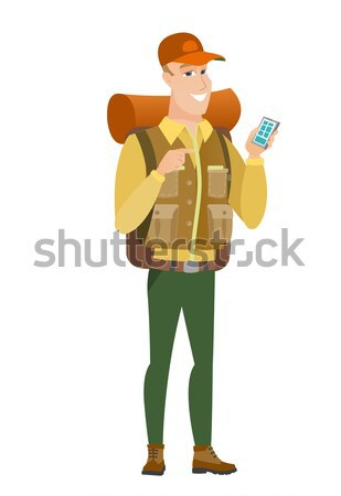 Young caucasian traveler laughing out loud. Stock photo © RAStudio