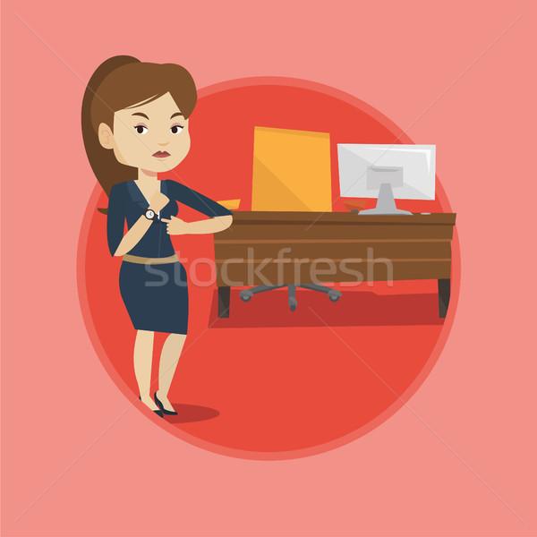 Enojado empleador senalando tiempo empleado Foto stock © RAStudio