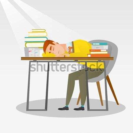 Női diák alszik asztal könyv könyvek Stock fotó © RAStudio