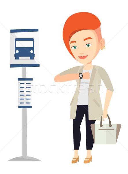 Kobieta czeka przystanek autobusowy teczki kobieta interesu Zdjęcia stock © RAStudio