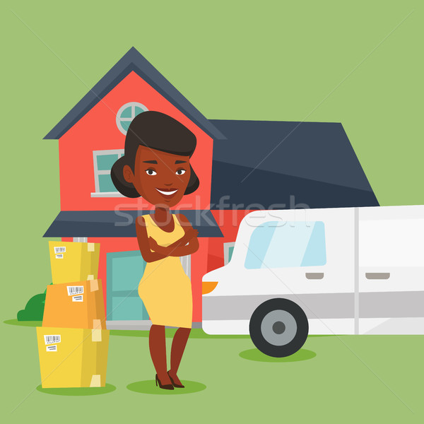 Nő mozog ház háztulajdonos áll új otthon Stock fotó © RAStudio