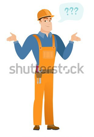 Asian confused builder with spread arms. Stock photo © RAStudio